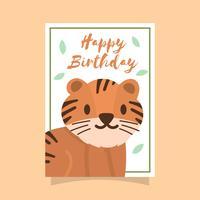 Tarjeta de felicitaciones del feliz cumpleaños del tigre