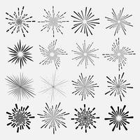 Reeks van zonnestraalstijl op witte achtergrond, Barstende stralen vectorillustratie wordt geïsoleerd die.