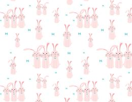 Cute bunny pattern background, Easter pattern for kids, Vector illustration.