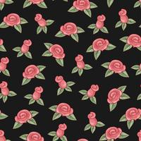 Roses seamless pattern on black background. Hand drawing. Vector illustration