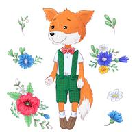 Ensemble de fleurs de renard. Main, dessin d'illustration vectorielle