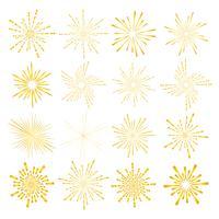 Reeks gouden die zonnestraalstijl op witte achtergrond, Barstende stralen vectorillustratie wordt geïsoleerd.