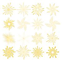 Set of golden sunburst style isolated on white background, Bursting rays vector illustration.
