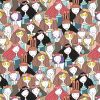 Cute girls character pattern background, Vector illustration.