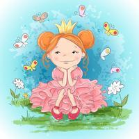 Lilla prinsessa och fjärilar. Handritning vektor illustration
