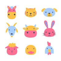 Pet Animal Cartoon Faces Set