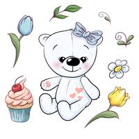 Set of little white teddy bear and flowers. Hand drawing. Vector illustration