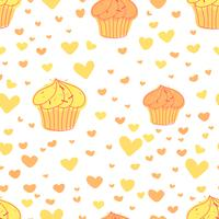 Cupcakes pattern background, Cute bakery pattern, Vector illustration.