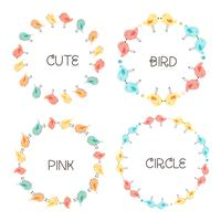 Vector Set Of Cute Bird Round Frames For Decoration. Vector Illustration.