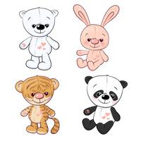 Set of little tiger cub tiger cub and panda. Hand drawing. Vector illustration