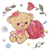 A set of teddy bear and yarn for knitting. Hand drawing. Vector illustration