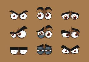 Brown Cartoon Eyes Vector