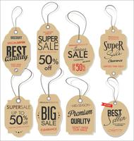 Paper price tag retro vintage style design vector collection