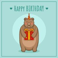 Cumpleaños con oso vector