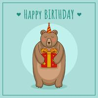 Birthday With Bear Vector