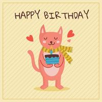 Birthday With Cute Cat Vector