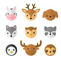 Conjunto de caras de dibujos animados de animales simples