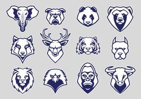 Animals Head Mascot Icons Vector Set