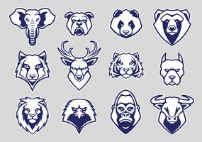 Djurhuvud Mascot Icons Vector Set