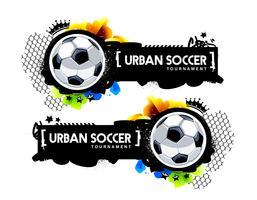 Banner de fútbol urbano estilo graffiti