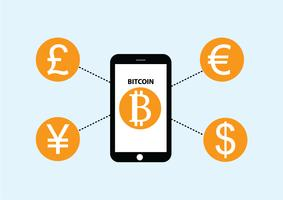vector of money currency exchange with bitcoin
