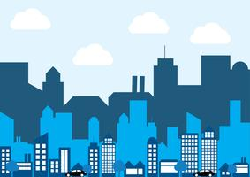 Vector of flat layer silhouette city