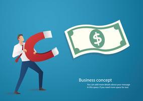 concepto de negocio. hombre de negocios atraer icono de dinero con una ilustración de vector de imán grande