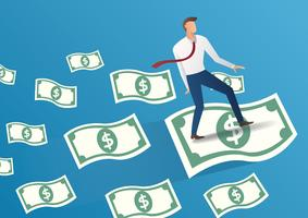Geschäftsmann Fliege auf Geld Rechnungen Vektor-Illustration
