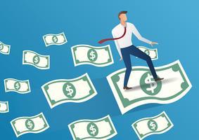 zakenman vlieg op geld rekeningen vectorillustratie