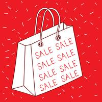 Shopping bag Red background