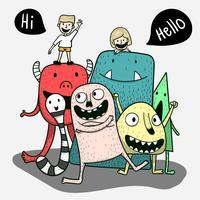 Cada amigo monstro é feliz em um feriado especial. Conceito de arte de Doodle, ilustração pintura