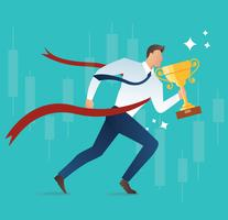 illustration of running businessman holding trophy concept for success