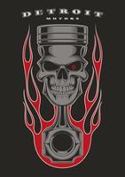 Skull piston biker emblem. vector