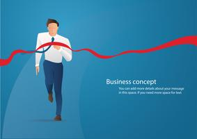Businessman on the finishing line in competition concept vector illustration