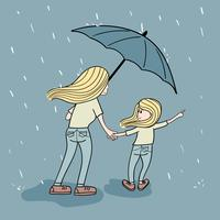 Mother sacrifice to walk in the rain for the daughter to buy toys at night vector