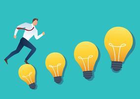 illustration of running businessman on light bulb idea concept