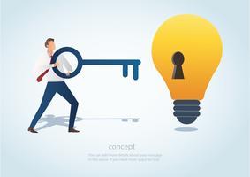 Mann, der den großen Schlüssel mit Schlüsselloch auf der Glühlampe, Konzept des kreativen denkenden Vektors hält