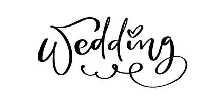 Hochzeitsvektor-Beschriftungstext mit Herzen auf weißem Hintergrund. Handgeschriebene dekorative Design-Wörter in den gelockten Güssen. Großer Entwurf für eine Grußliebeskarte oder einen Druck