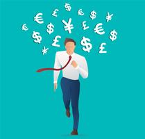 businessman running with money icon , Trendy isometric businessman, Concept business vector illustration