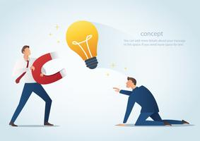 businessman holding magnet attract light bulbs steal work from colleague, plagiarism vector illustration
