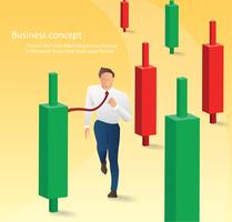 Businessman running with candlestick chart background, concept of stock market, vector illustration