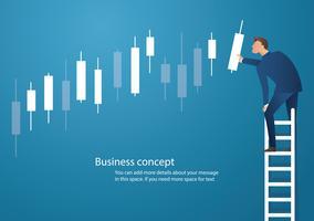 Ilustração em vetor conceito negócio de um homem na escada com fundo gráfico candlestick, conceito de mercado de ações
