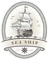 vintage sea ship emblem vector