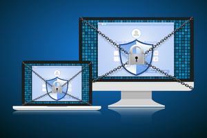 Konceptet är datasäkerhet. Sköld på dator eller Labtop skyddar känsliga data. Internet säkerhet. Vektor illustration.