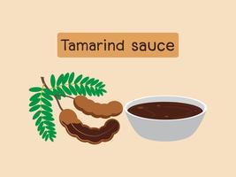 Vector el ejemplo de la fruta del tamarindo con la salsa del tamarindo aislada en el fondo blanco