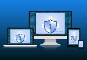 El concepto es la seguridad de los datos. El escudo en la computadora, el teléfono Labtop Samart y la tableta protegen los datos confidenciales. Seguridad de Internet. Ilustracion vectorial
