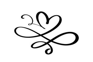 Hand getekend hart liefde teken. Romantische kalligrafievector van valentijnskaartdag. Concepn pictogram symbool voor t-shirt, wenskaart, poster bruiloft. Ontwerp platte element illustratie