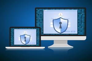 Conceito é segurança de dados. Escudo no computador ou Labtop proteger dados sensíveis. Segurança da Internet. Ilustração vetorial.