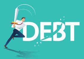 zakenman met behulp van zwaard gesneden schuld, bedrijfsconcept van schuldregeling vectorillustratie