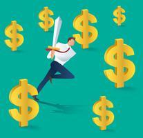 Hombre de negocios con la espada en funcionamiento y el icono de dólar, concepto de negocio de éxito. Ilustración vectorial